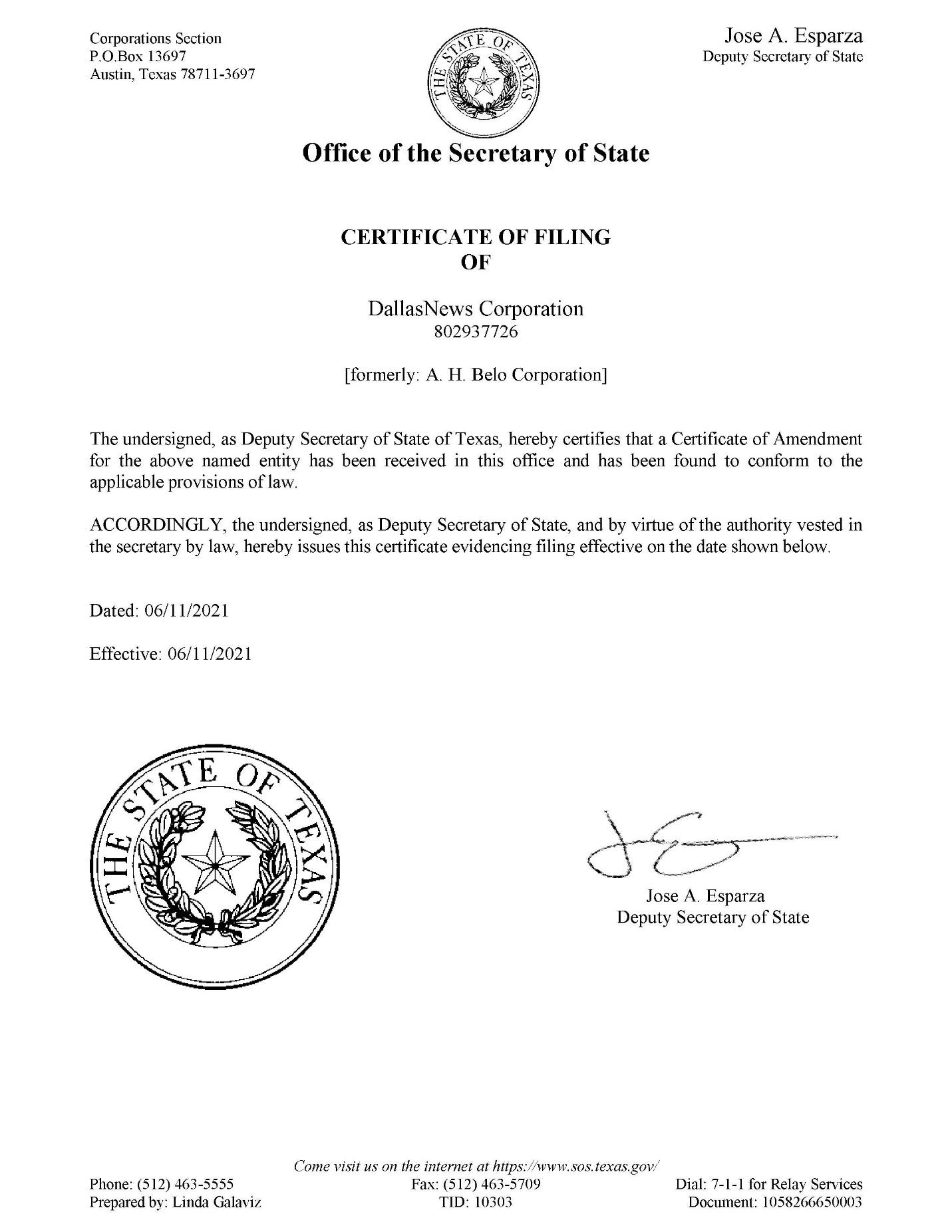 X:\TX\Dept\Corp-Qrtly-Financial-Reporting\2021\Q2 2021\Press Releases\8-K Amendment to Cert of Formation and Bylaws\TX Certificate of Amendment Name Change (FILED 06.11.2021)_original to be filed with the SEC_Page_1.jpg